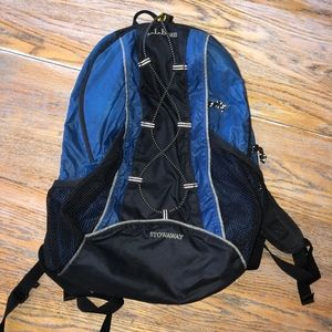 L.L.BEAN stowaway blue backpack/nice condition